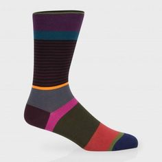 Paul Smith Men's Socks - Multi-Coloured Step Stripe Socks