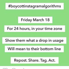 Show instagram that we mean business....#boycottinstagramalgorithms #instagramdontdothis #instagramfail