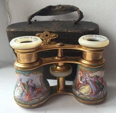 ANTIQUE BLACK STARR & FROST FRENCH GILT ENAMEL OPERA GLASSES BINOCULARS