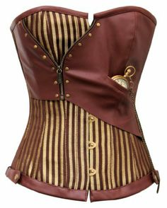 Amazon.com: CD-468 - Brown and Gold Striped Overbust Corset: Clothing