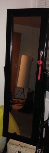 Amazon.com - Black Mirrored Jewelry Cabinet Armoire W Stand Mirror Rings, Necklaces, Bracelets - Jewelry Armoire