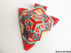 Seed beads ethnic Miyuki pendant Beadweave jewelry Beaded