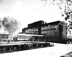 Hospital y clínica del IMSS (Hospital General de Zona Número 6), Juvenal Aragón Romo Norte 450, Zona Pronaf, Ciudad Juárez, Chihuahua, México 1958   Arq. Carlos Ortega Viramontes -  Hospital and Clinic of the IMSS, Ciudad Juarez, Chihuahua, Mexico 1958