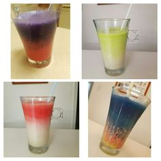 -1tbsp sugar -2 bananas - ice - milk. For the banana milk shake. Then create the dye ombre with food dye.