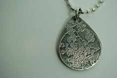 Antiqued Sterling silver teardrop pendant on a ball chain by SilverByKat on Etsy