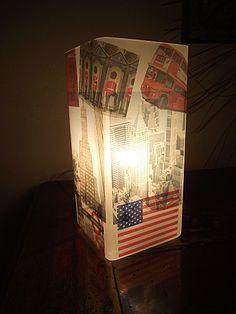 Décorer une lampe à l'aide de papier autocollant imprimable transparent. *** LAMPE IKEA NY