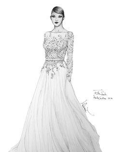 ELIE SAAB Haute Couture Autumn-Winter 2013-14 Fashion illustration By Mahinaz soliman