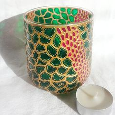EMERALD  Hand Painted Decorative Glass Candle by YunikDesign