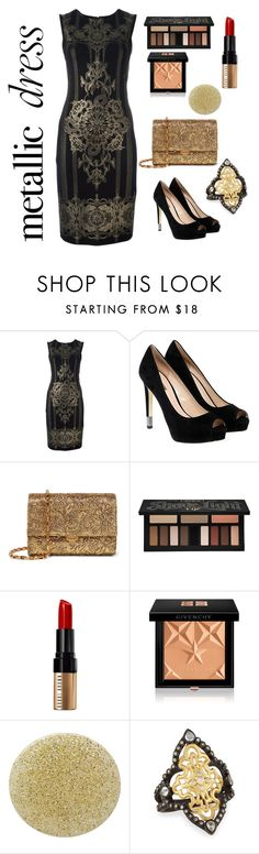 """""""Gold and black"""" by janew455 ❤ liked on Polyvore featuring Roberto Cavalli, GUESS, Michael Kors, Kat Von D, Bobbi Brown Cosmetics, Givenchy, Burberry and Armenta"""