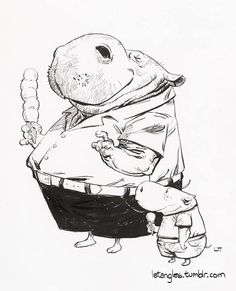 Dad hippo and son hippo, eating ice-cream.