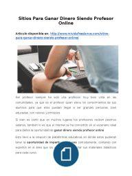 Sitios Para Ganar Dinero Siendo Profesor Online