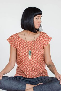 Seamwork Akita top. Very simple, great woven fabric alternative to a cap sleeved T shirt.