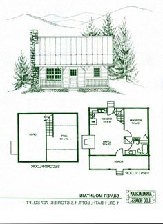 adirondack cabin plans, 16'x24' with cozy loft and front porch