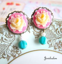 Jewelsalem Pink Rose Earrings Antique Post Vintage Paris Spring (http://www.etsy.com/shop/Jewelsalem?ref=si_shop), $9.98