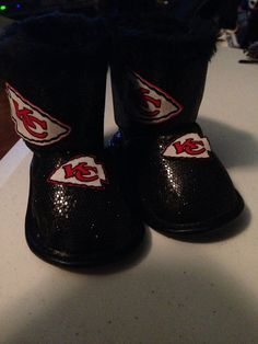 Loley pops creations Kansas City Chiefs baby boots fits 6-9 months on Etsy d1fd7ee56