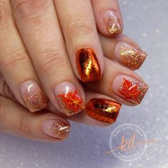 """47 Likes, 2 Comments - Katie Dutra - Nail Artist (@nailsbykatiedutra) on Instagram: """"Fall glitter, foil, and hand painted leaves ✨"""""""
