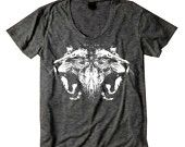 Womens Dancing LION Head Mirrored Image Bohemian Indie Slouchy T shirt screen print Top Alternative Apparel S M L  More colors