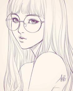 Beautiful, clean line art. - Lena la - draw, Beautiful, clean line art. Girl Drawing Sketches, Cartoon Girl Drawing, Pencil Art Drawings, Illustration Sketches, Cartoon Drawings, Cute Drawings, Drawing Eyes, Sketch Art, Sketch Girl Face