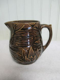 Vintage McCoy Pitcher Brown Embossed with Water Lily Lotus Old Creamer | eBay