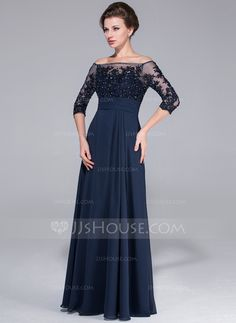 A-Line/Princess Off-the-Shoulder Floor-Length Chiffon Tulle Mother of the Bride Dress With Beading Appliques Lace Sequins (017025450)