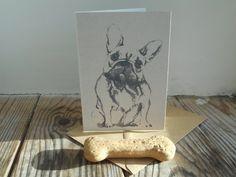 French Bulldog Card by huxleyjonesdesigns on Etsy