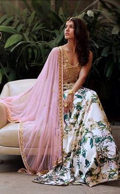 Arpita Mehta White Floral #Lehenga With Gold #Blouse & Light Pink Dupatta.