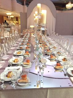 mirrored banquet table with crystal candlesticks