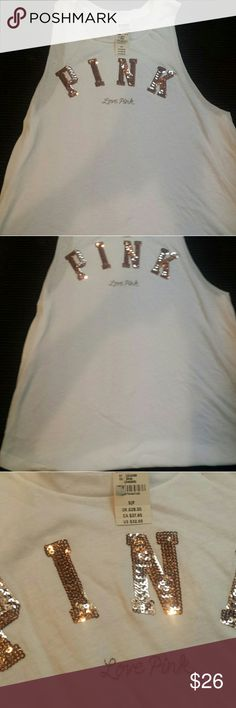 Victoria Secret PINK Blinged Tank Fits Like A Muscle tee. Is perfect to wear over a bathing suit at the beach. Has rose gold sequins. PINK Victoria's Secret Tops Tank Tops
