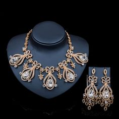 2017 Vintage new arrivals necklace and earrings nigerian jewelry set african beads for wedding bridal mariage free shipping