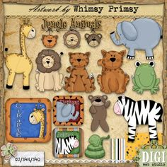 Stuffed Jungle Animals 1 - Whimsy Primsy Clip Art Download