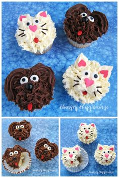 Dog Cupcakes and Cat Cupcakes So cute and so easy VIDEO Dog Cupcakes and Cat Cupcakes So cute and so easy VIDEO Cait Louise smooshypoo Birthdays Watch the video tutorial nbsp hellip Cupcake cat Puppy Cupcakes, Animal Cupcakes, Sweet Cupcakes, Cupcake Frosting, Cupcake Cakes, Cupcake Videos, Store Bought Frosting, Chocolate Fudge Frosting, Cat Cookies
