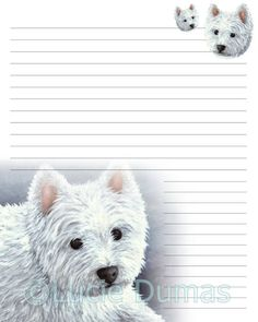Lined Page Template Digital Printable Journal Page Dog 86 Chiahuahua Flower Stationary .