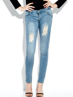 Women Casual Mid Waist Wash Ripped Skinny Jeans