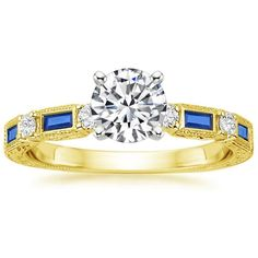 Vintage Sapphire and Diamond Engagement Ring - 18K Yellow Gold