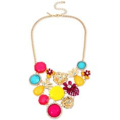 M. Haskell for Inc International Concepts Gold-Tone Multi-Stone... ($30) ❤ liked on Polyvore featuring jewelry, necklaces, gold multi, multi colored necklace, multi color statement necklace, multi stone necklace, tri color jewelry and tri color necklace