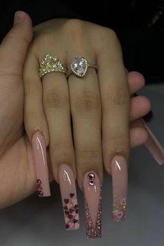 Acrylic Nails Coffin Pink, Pink Nails, Matte Nails, Dope Nail Designs, Romantic Nails, Drip Nails, Nails Design With Rhinestones, Rhinestone Nails, Trendy Nails