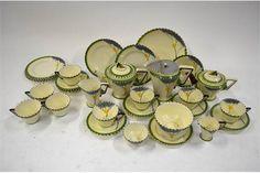 Burleigh ware Art Deco 'Dawn' pattern tea service comprising: Teapot, jug with detachable metal c