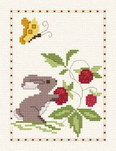 Berry Patch Bunny Towel - Butterfly cross stitch pattern designed by Bennie Harman. Category: Animals.