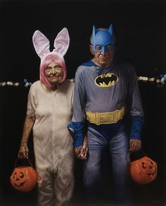 TRICK or TREAT / American artist Jason Bard Yarmosky, a graduate of the School of Visual Arts, is best known for his series of paintings, Elder Kinder. These works juxtapose youth with old age, and explore the social connotations of aging. Vieux Couples, Old Couples, Cute Couples, Romantic Couples, Growing Old Together, Old Folks, Batman, American Artists, Belle Photo