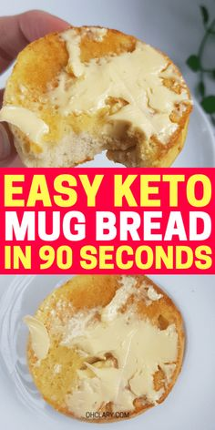 Learn how to make super quick & easy microwave keto mug bread that tastes like THE REAL THING! Try this keto 90 sec bread as a filling side with your keto breakfast bacon and eggs or have this 90 second keto bread with cream cheese or butter! Egg And Bread Recipes, Easy Keto Bread Recipe, Keto Mug Bread, No Bread Diet, Best Keto Bread, Whole Food Recipes, Keto Recipes, Keto Pancakes, Healthy Recipes