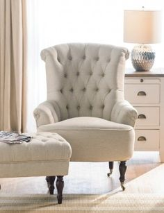 Lorne Button Back Chair Natural Linen Hamptons Style Decor, The Hamptons, Early Settler, Natural Linen, Classic Style, Accent Chairs, Armchair, Lounge, Sofa