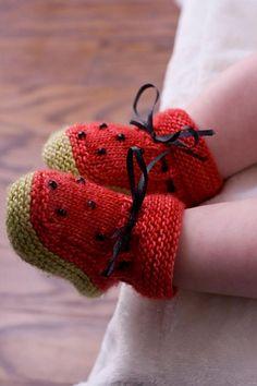 Ravelry: Watermelon Booties pattern by Kathie Popadin