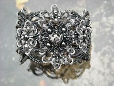 Small gallery of super-embellished tatted lace jewelry and accessories.