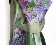 Hand Painted Silk Scarf/Painting Shawl/Exotic Orchids Painted silk scarf/Purple Woman scarf/Luxury scarf Painted by hand/Floral scarf/S0129