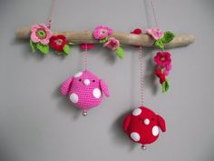Crocheted birds hanging on driftwood (I'd love to make something like this but in felt and ricrac) :-)