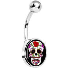 White Sugar Skull Belly Ring #piercing #bellyring #bodycandy #bodymods