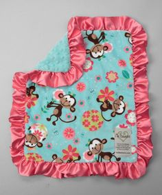 Take a look at this Aqua & Watermelon Funky Monkey Security Blanket by My Blankee on #zulily today!