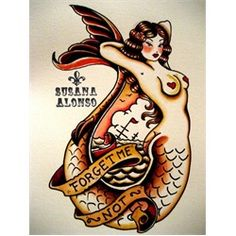 Forget Me Not by Susana Alonso Tattoo Art Canvas Print. Susana Alonso's artwork encompasses pin-ups, sexy burlesque style ladies, and tattoo themes - which is no surprise! Contrary to most in the tattoo trade, Alonso started her career tattooing before moving into art and design.