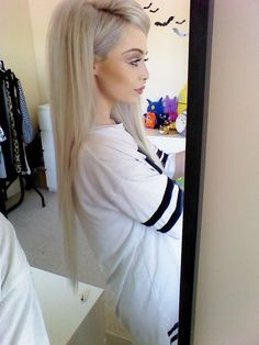 Long platinum hair.