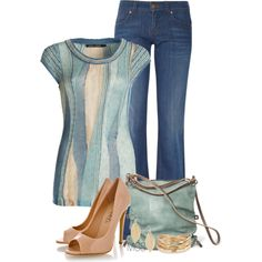 Pumps and Denim by mclaires on Polyvore featuring polyvore, fashion, style, NIC+ZOE, Gucci, Timeless, Ina Kent and MOOD